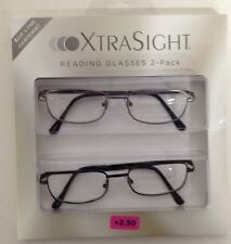 2 Pack XTRA SIGHT Reading Glasses CT1213 Jacob 2Pk One GUN/One Blk NEW +2.50 NEW