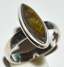 Genuine Canadian Ammolite 925 Sterling Silver Rings Jewelry s.7.5 JB13032