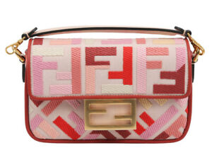 Fendi Mini BAGUETTE Pink canvas FF bag