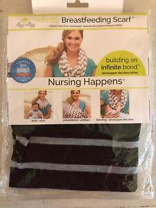 Itzy Ritzy Black & Grey Stripe Infinity Nursing Scarf Award Winner