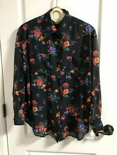Vintage GAP sheer black floral long sleeve button down blouse womens medium