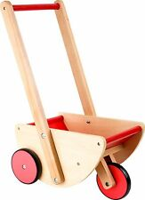 Doll´s Pram 3 wheels Wooden Doll Buggy Traditional Classic Push Along Stroller