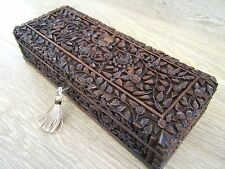 Formidable 19 C Bois de Santal Hand Carved Antique Boîte à bijoux-Fab intérieur