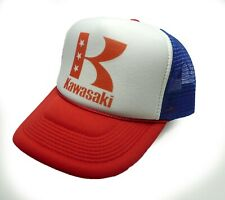 513d3623817 vintage Kawasaki motorcycles trucker hat mesh hat red white blue new Snap  back