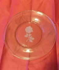 Avon Clear Glass Etched Rose Commemorative Plate Exclusive for Avon