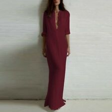 UK STOCK Womens Deep V Neck Front Plunge Party Evening Long Maxi Dress Kaftan