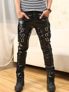 MENS BLACK FAUX LEATHER PUNK TROUSERS GAY STRAIGHT NEW W940183