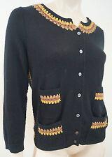 MARC JACOBS Black Cashmere Blend Gold & Brown Trim Long Sleeve Cardigan Top Sz:M