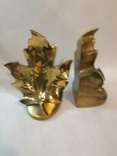 Vintage Brass Bookends Leaf PM International Mid Century