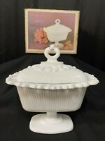 Vintage Indiana Glass Lace Edge Oblong Candy Dish With Lid #3785/OPEN BOX *315