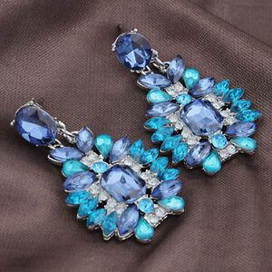 Video Gamer Geek Girl Blue Crystal Drop Earrings Loot Masquerade Prom Halloween