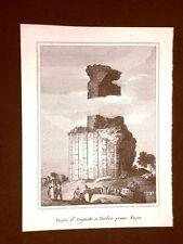 Nizza Trofeo d'Augusto a Turbia Incisione su rame all'acquaforte del 1835 Audot