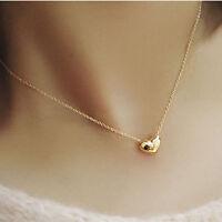 NEW Pretty Gold Plated Heart Womens Bib Statement Chain Jewelry Pendant Necklace