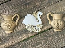 Vintage Chalkware Set Of 3 Gold Pitcher & Swan Lake Wall Art Plaques 6/5 ��m13