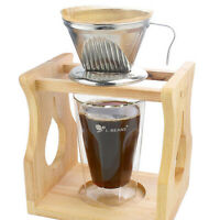 Stainless Steel Pour Over Cone Dripper Coffee Filters Strainer Holder Silver