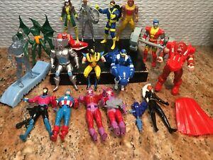 "Vintage 1990's X-men Action Figures Lot (16) ~ Toy Biz ~ 5"" - & Many Accessories"