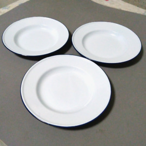 "Set 3 pcs  7"" White enamelware Plates dishes camping round vintage bowl dinner"