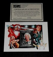 1995, BURKINA FASO,MARILYN MONROE, LIMITED EDITION, SILVER SOUVENIR SHEET, W/COA