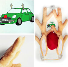 Car DIY Decoration Christmas Antlers Ornaments + Cute Rudolph Reindeer Red Nose