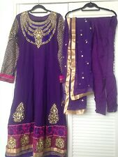 Brand New Purple and gold indian anarkali dress with churidaar and dupatta