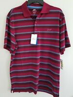 Greg Norman Attack Life Mens Medium Dark Red Dayton Bar Stripe Polo Shirt