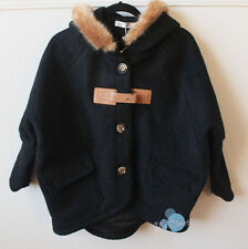 Women Girl Black Coat Jacket with Faux Fur Hood. New! Size M. Ship Free!