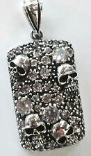GOTHIC GENTS SKULL WHITE CZ CRYSTAL 925 STERLING SILVER DOGTAG PENDANT