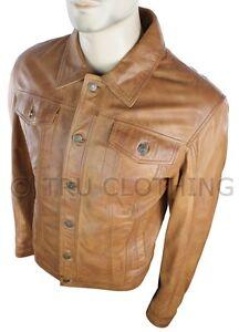 Mens Vintage Short Denim Style Retro Leather Jacket Tan Brown Casual