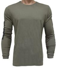 Oakley TRACK Tee Mens Size L Large Worn Olive Green Long Sleeve Cotton T-Shirt