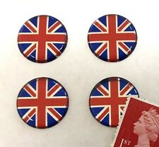 4 x Union Jack Flag Stickers Super Shiny Domed Finish 20mm Red, Blue & Chrome