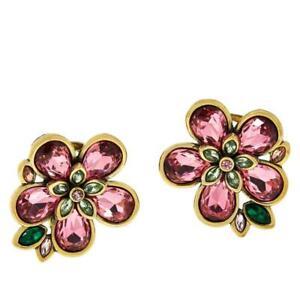 Heidi Daus FLOWER SHOW Crystal Earrings Rose Pink Pierced NWT