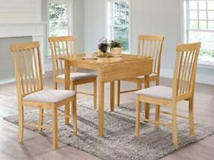The One Kyla Oak Finish Rectangle Drop Leaf Dining Set Solid wood Extension Di