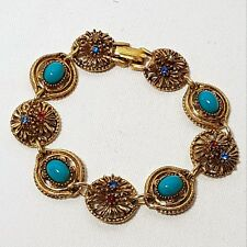 Vintage Signed ART Gold Tone Bracelet Faux Turquoise and Red Blue Rhinestones