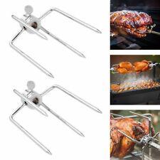2tlg Fleischklammer Grillgabel Halter Spießgabel Spießklammer Rotierenden Grill
