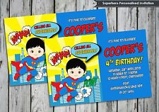 1x Superheroes Birthday Party Supplies Personalised Invitations Card Superman