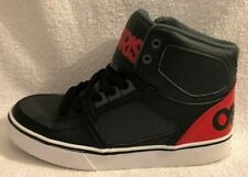 OSIRIS Boys Skate Board Shoes, Size: 5 - Leather Upper Classic Black & Red