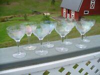 Set Of 8 Antique Etched Wine Glasses Vintage Crystal Glassware Stemware Rose
