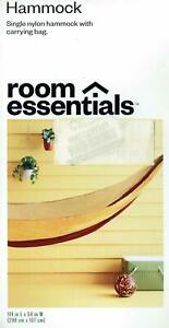 ROOM ESSENTIALS (A) - SINGLE HAMMOCK w CARRYING BAG - 100% NYLON - HOLDS 350 LBS