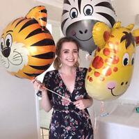 Safari Jungle Animal Head Foil Balloon Kids Inflatable Toys Tiger Lion Monkey