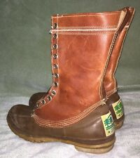VINTAGE CONVERSE BROWN LEATHER SPORT Duck Hunting Boots Size 11 Made In USA 1970