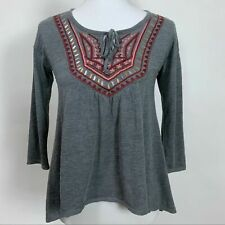 Hollister Size Small Top Gray Embroidered Knit Pullover Stretch NEW