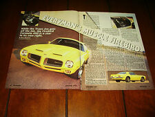 1970 PONTIAC FIREBIRD FORMULA 400 ***ORIGINAL 1992 ARTICLE***