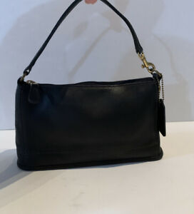 Vintage Coach Black Leather Bleecker Top Zip Baguette Demi Bag Handbag Purse