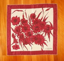 "Vintage Lanvin Burgundy Red Oxblood Beige Floral Silk Scarf 31"" X 31"""