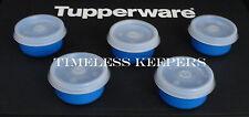 Free Ship Tupperware Set of 5 SMIDGETS Mini Bowl 1 oz Dips Candy Pills NEW Blue