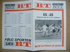 More details for football programme 1967- kb v ab, 25 april (danish football programme)