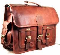Men's Genuine Goat Leather Vintage Laptop Messenger Briefcase Satchel Bag New