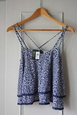 Atmosphere Ladies Geometric Blue Print Summer Top - Layered  - Size 8 - New