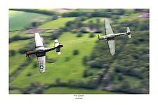 "WWII WW2 Luftwaffe Bf109 Me109 Mustang P-51 Aviation Art Photo Print - 12"" X 18"""