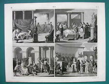 GREEK & Roman Life Wedding Funeral Dancer - 1844 Antique Print Engraving